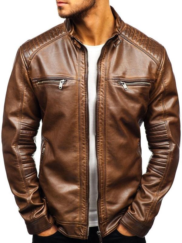 Чоловіча шкіряна куртка коричнева Bolf ex807