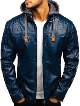 Чоловіча шкіряна куртка темно-синя Bolf ex703