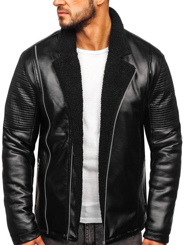 Чоловіча шкіряна куртка утеплена чорна Bolf 5494