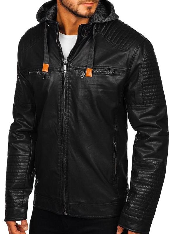 Чоловіча шкіряна куртка чорна Bolf EX891