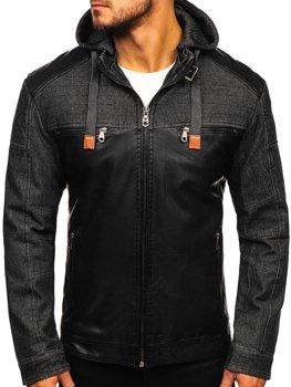 Чоловіча шкіряна куртка чорна Bolf Ex361