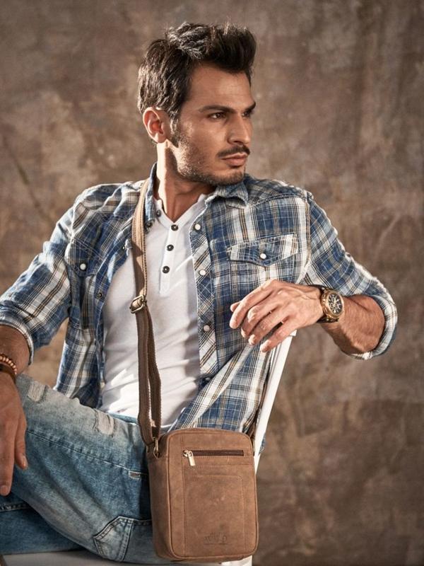 Чоловіча шкіряна сумка коричнева 2513