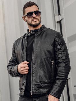 Чоловіча шкіряна утеплена куртка чорна Bolf 92531
