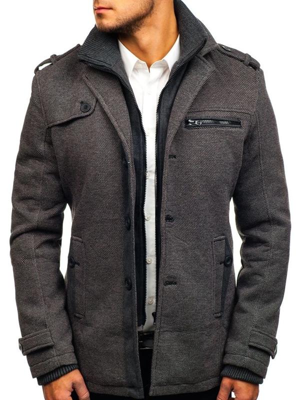 Чоловіче зимове пальто сіре Bolf 1809