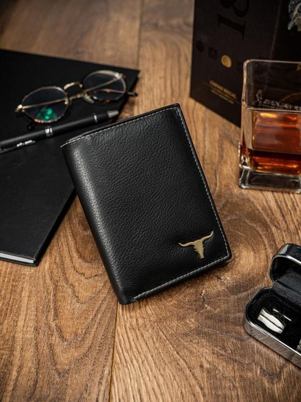 Чоловічий гаманець шкіряний чорний 13