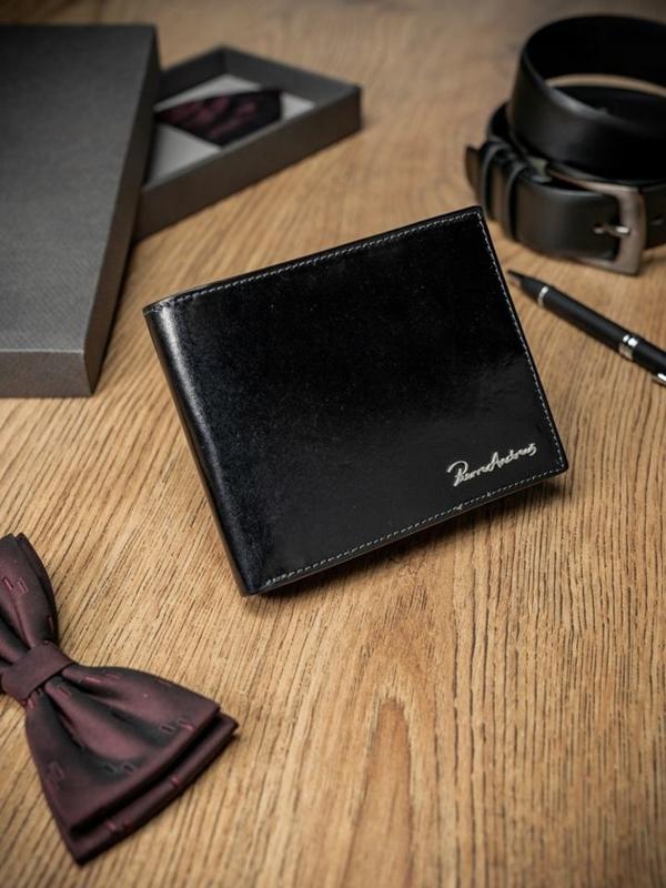 Чоловічий гаманець шкіряний чорний 1696