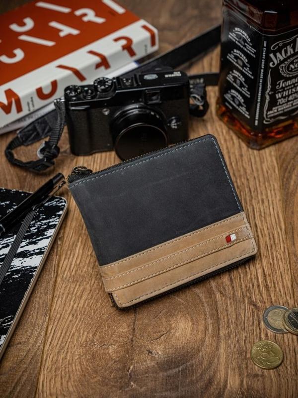 Чоловічий гаманець шкіряний чорний 2040