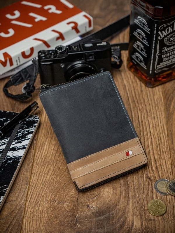 Чоловічий гаманець шкіряний чорний 2043