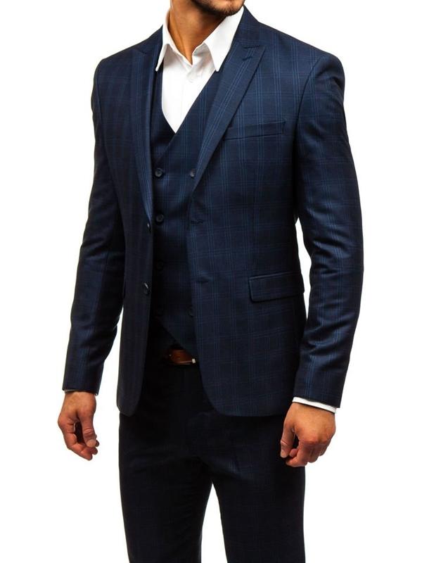 Чоловічий костюм у клітину з жилеткою темно-синій Bolf 17100