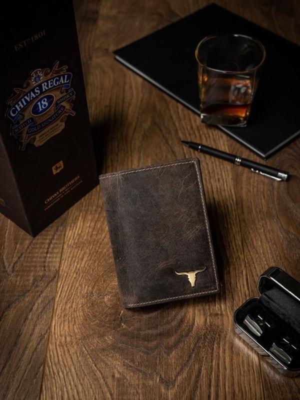 Чоловічий шкіряний гаманець світло-коричневий 494