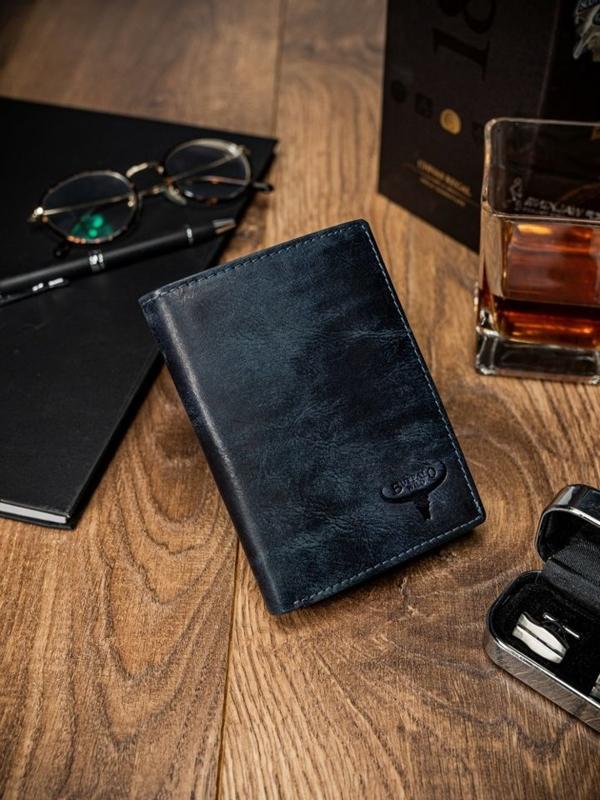 Чоловічий шкіряний гаманець синій 1651