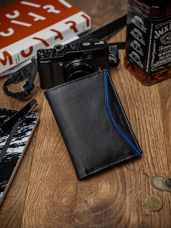 Чоловічий шкіряний гаманець чорно-синій 2058