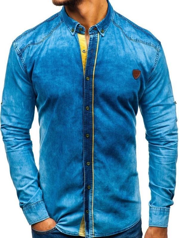 Чоловічі джинсова сорочка з довгим рукавом синя Bolf RL15