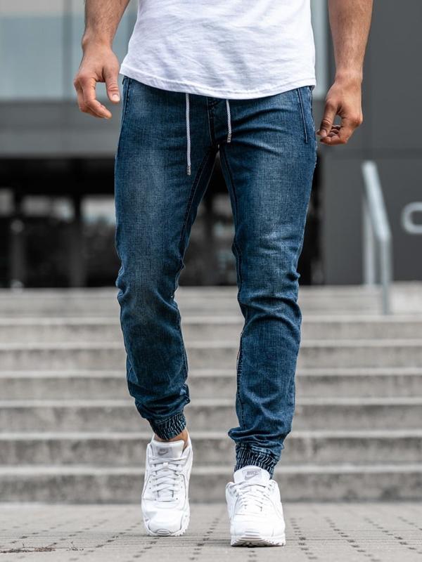 Чоловічі джинсові штани джоггери темно-сині Bolf KA670
