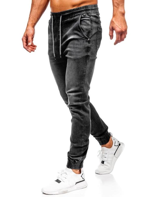 Чоловічі джинсові штани джоггери чорні Bolf KA1073