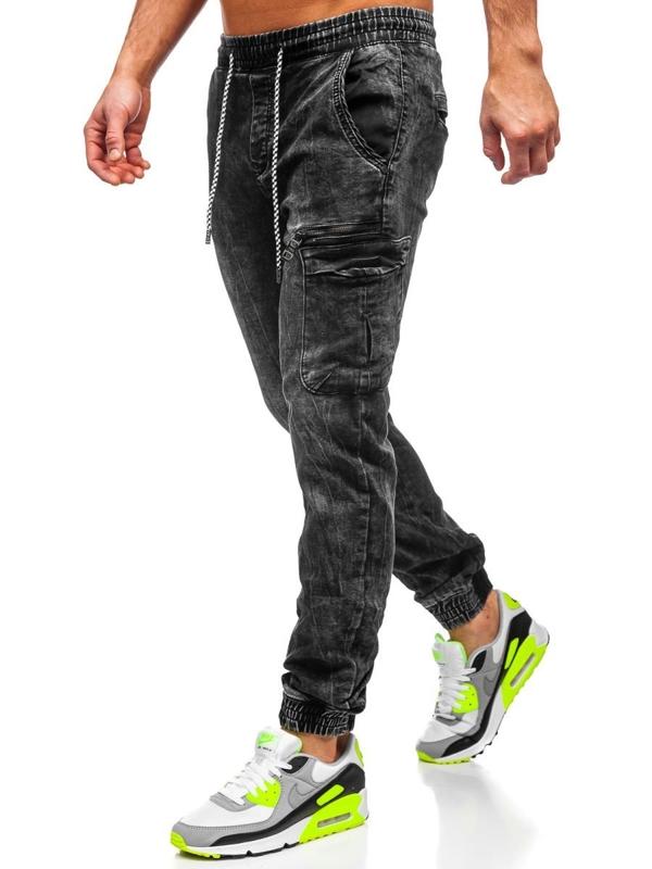 Чоловічі джинсові штани джоггери чорні Bolf KA687-2