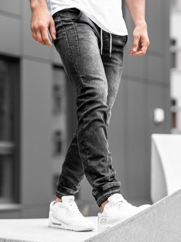 Чоловічі джинсові штани джоггери чорні Bolf KA688
