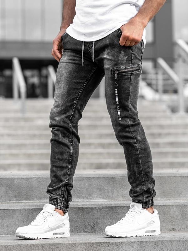 Чоловічі джинсові штани-джоггери чорні Bolf KA689-3