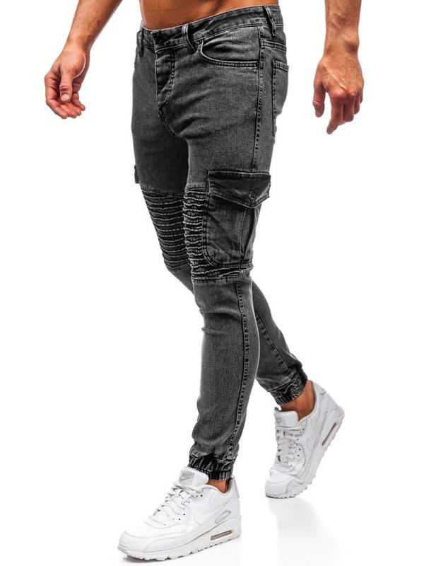 Чоловічі джинсові штани джогери чорні Bolf 1064