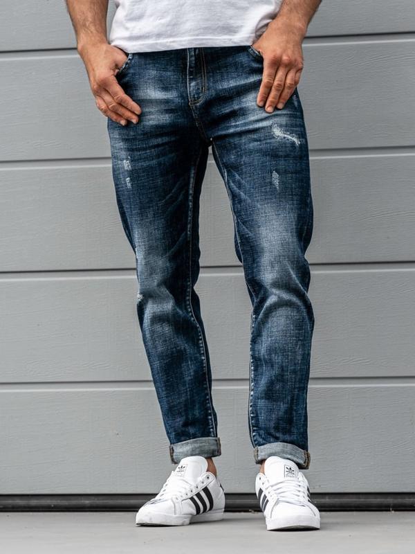 Чоловічі джинсові штани темно-сині Bolf KX273