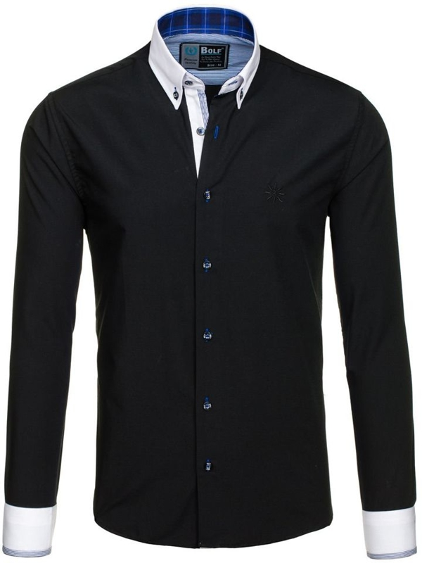 Чорна елегантна чоловіча сорочка з довгим рукавом Bolf 5766-1