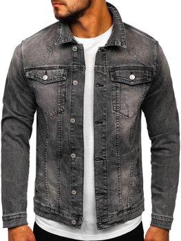 Чорна чоловіча джинсова куртка Bolf AK586