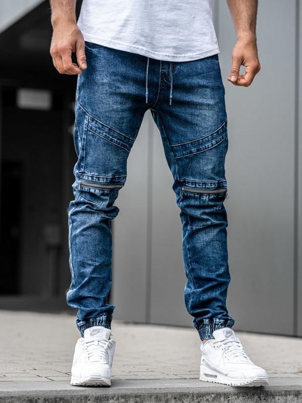 Штани джоггери джинсові чоловічі темно-сині Bolf KA575