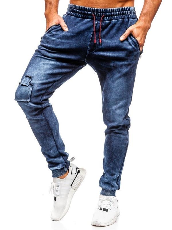 Штани чоловічі джинсові джоггери темно-сині Bolf KK1062