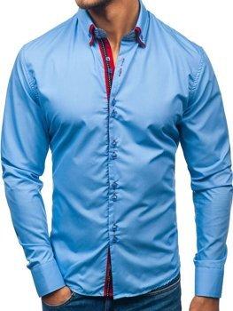 Элегантная мужская рубашка с длинным рукавом голубая Bolf 2785