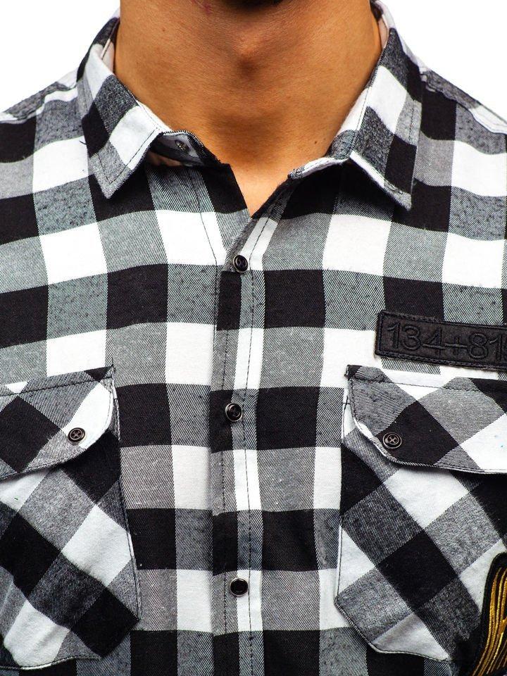 ... Чоловіча фланелева сорочка з довгим рукавом чорна Bolf 2503 ... 0b171ba1feff4