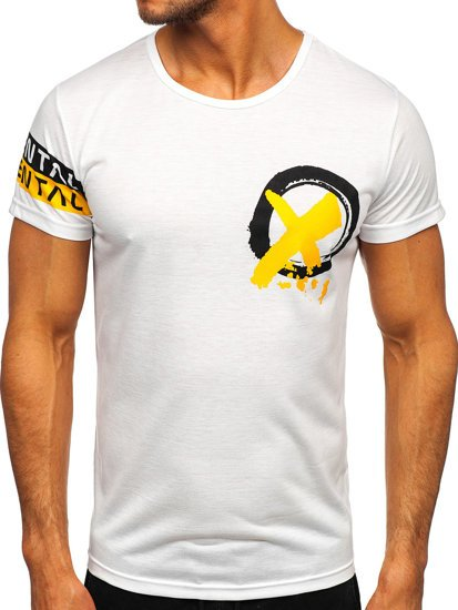 Біла чоловіча футболка з принтом Bolf HY801
