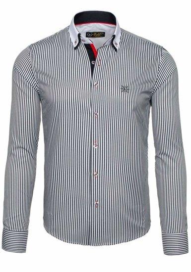 Біло-чорна елегантна чоловіча сорочка в смужку з довгим рукавом Bolf 5758