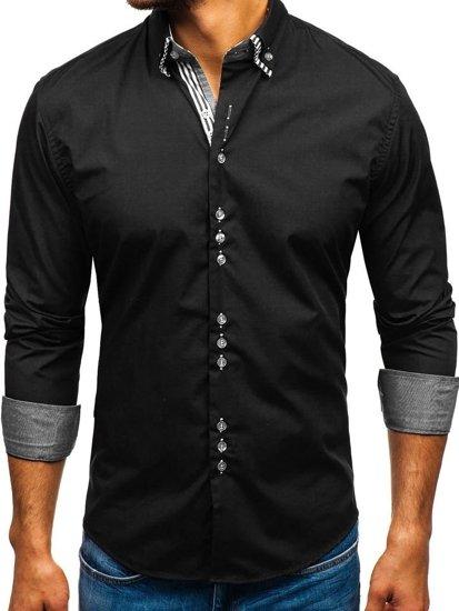 Елегантна чоловіча сорочка з довгим рукавом чорна Bolf 4703