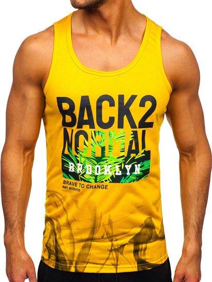 Жовта футболка танк топ з принтом Bolf HY813