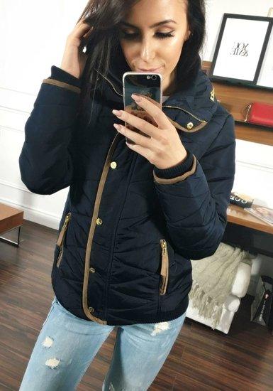 Жіноча зимова куртка темно-синя Bolf 22