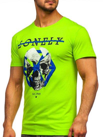 Зелена неонова чоловіча футболка з принтом Bolf Y70011