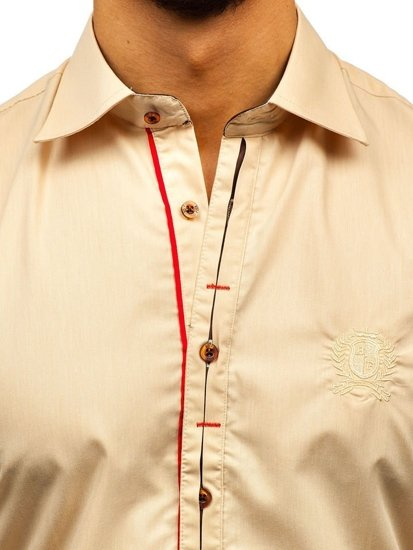 Сорочка чоловіча елегантна з довгим рукавом кемел Bolf 1769