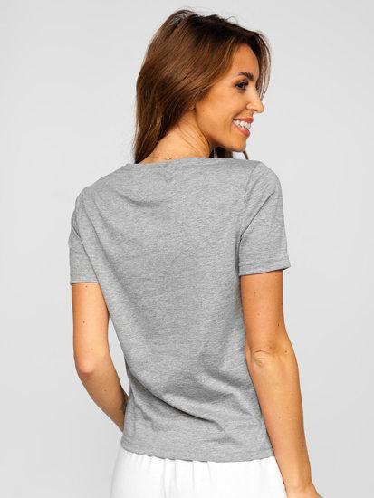 Сіра жіноча футболка без принта Bolf SD211