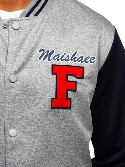 Сіра толстовка-куртка чоловіча тонка бейсбольна з принтом Bolf B10160