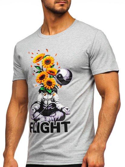 Сіра чоловіча футболка з принтом Bolf S10022