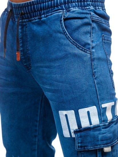 Темно-сині джинси джоггери-карго чоловічі Bolf HY891