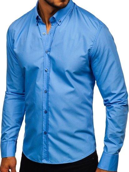 Чоловіча елегантна сорочка з довгим рукавом блакитна Bolf 5821