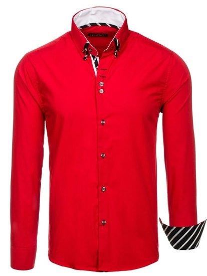 Чоловіча сорочка з довгим рукавом червона Bolf 3762