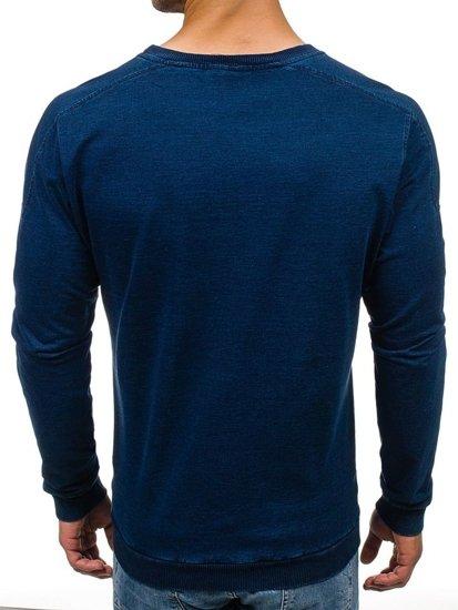 Чоловіча толстовка без капюшона темно-синя Bolf 2701