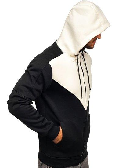 Чоловіча толстовка з капюшоном на застібці чорно-бежева Bolf 88025