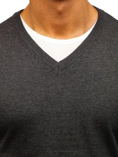 Чоловічий светр з v-подібним вирізом антрацитовий Bolf 1820