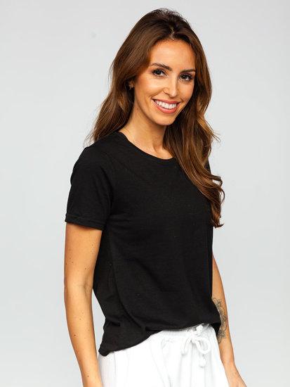 Чорна жіноча футболка без принта Bolf SD211