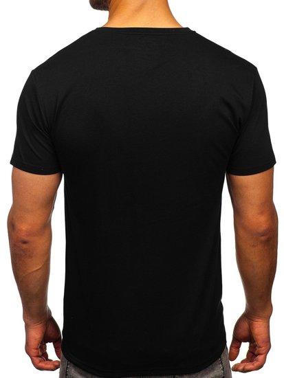 Чорна чоловіча футболка з принтом Bolf Y70001