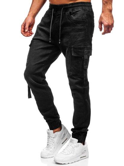 Чорні джинси джоггери-карго чоловічі Bolf 8871