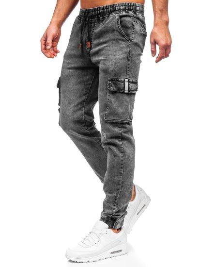 Чорні джинси джоггери-карго чоловічі Bolf HY850